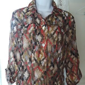👚Ruby Red Favorites button up blouse Sheer  sz 8